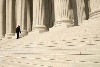 Single person on Capital steps